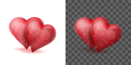 Two red crystal hearts joined together on the white background. Glass Valentine symbols on the transparent effect background. Vector illustration
