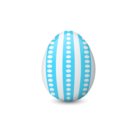 Vector illustration of the decorated or painted Easter egg isolated on the white background. Holiday symbol, element or object. Illustration