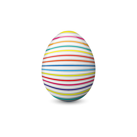 Vector illustration of the colorful, painted and decorated Easter egg isolated on the white background. Holiday symbol, element and object. Illustration
