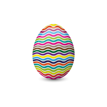 Vector illustration of the painted and decorated Easter egg isolated on the white background. Holiday symbol, element or object.