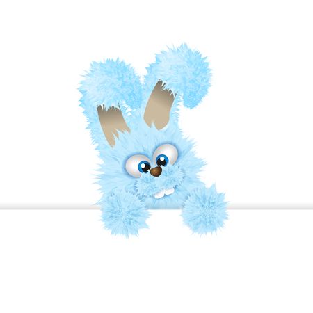Blue Easter bunny is peeping out. Fluffy rabbit isolated on the white background. Vector illustration with copy space or text area. Cartoon animal character. Easter symbol.