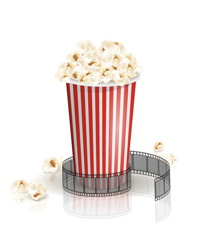 Filmstrip rolled around the full white-and-red striped bucket of popcorn. Vector illustration. Object isolated on the white background. Popcorn fallen from a bucket. Cinema snack and movie food. Vettoriali
