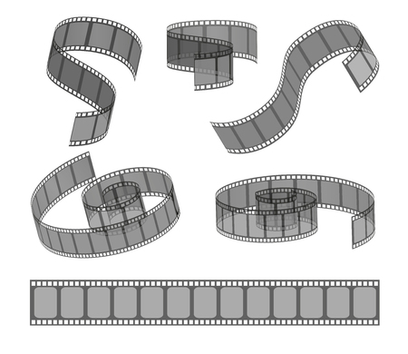 Vector set of filmstrip rolls.