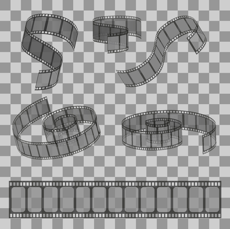 Set of rolled filmstrip rolls. Group of realistic movie and cinema elements or objects on the transparent effect background.