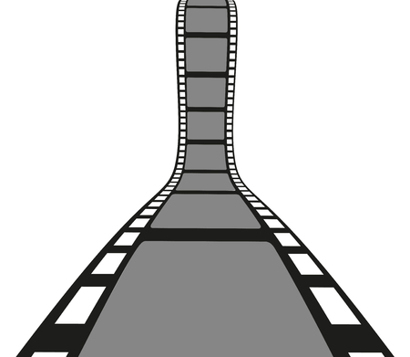 Filmstrip roll isolated on the white background. Vector illustration. Cinema and movie element or object.