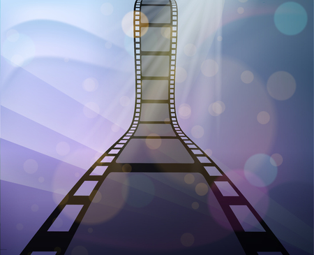 Filmstrip roll on the abstract background. Vector illustration. Cinema and movie element or object. Illustration
