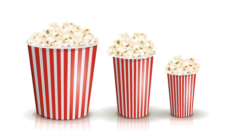 Vector set of full red-and-white striped popcorn buckets in different sizes. Vektorové ilustrace