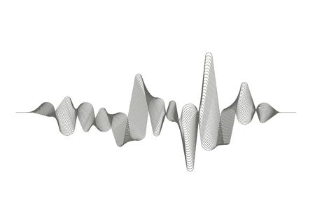 Onde sonore monochrome sur fond blanc. Technologie d'égalisation numérique audio. Pouls musical. Vague de musique de vecteur.