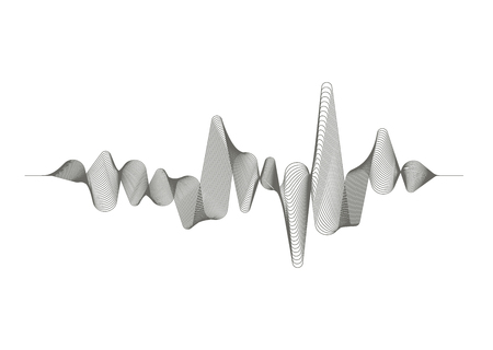 Monochrome sound wave on white background. Audio digital equalizer technology. Musical pulse. Vector music wave.
