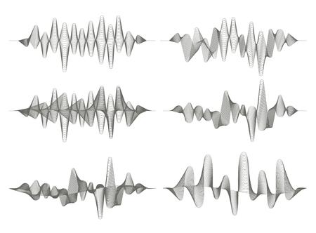Set of sound waves. Audio equalizer. Musical pulse. Vector music waves. Monochrome illustration on white background.