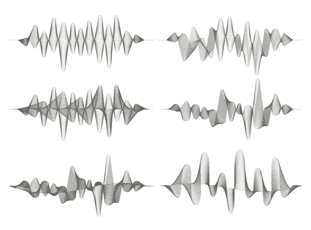 Set of sound waves. Audio equalizer. Musical pulse. Vector music waves. Monochrome illustration on white background.