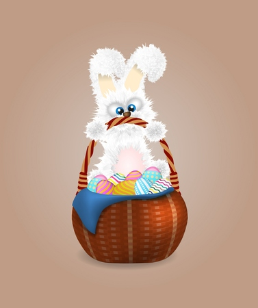Fluffy easter bunny with wicker basket full of decorated and painted easter eggs. Vector illustration. Cartoon animal character.