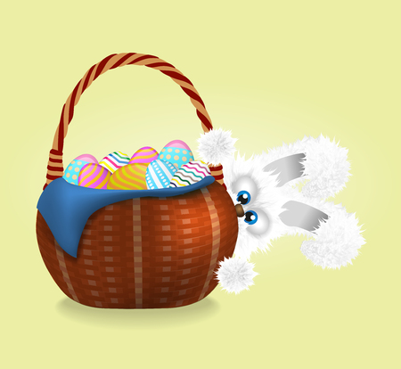 Fluffy easter bunny is looking out. Wicker basket full of decorated and painted easter eggs. Vector illustration. Cartoon animal character. Illustration