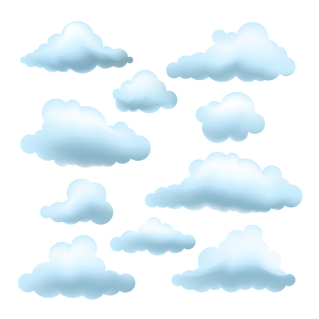 Set of Vector clouds. Collection of cartoon clouds isolated on white background.