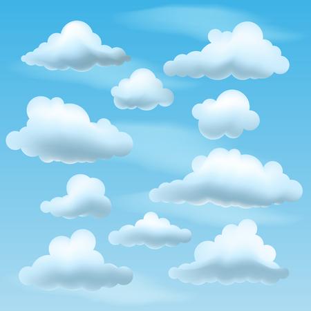 Set of Vector Clouds on blu sky background. Collection of cartoon clouds Vektoros illusztráció