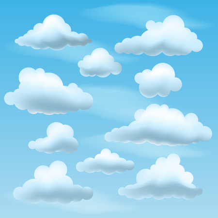 Set of Vector Clouds on blu sky background. Collection of cartoon clouds