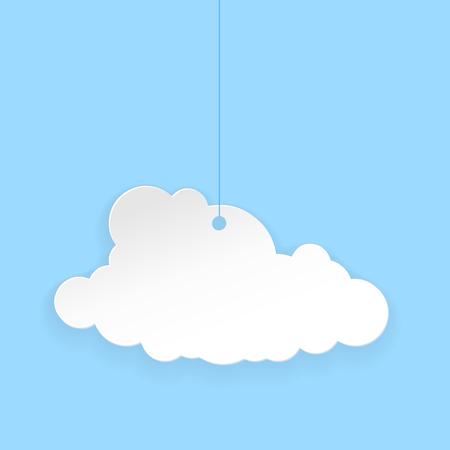 Paper cloud. Vector illustration on blue background