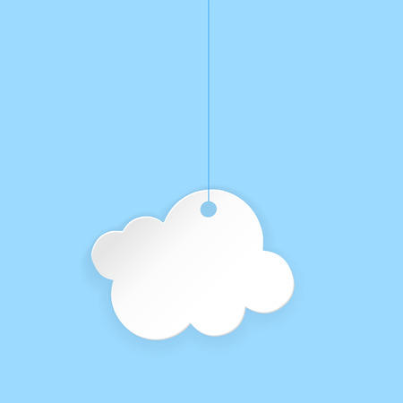 Cartoon paper cloud. Vector illustration on blue background