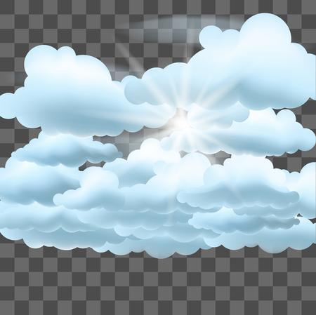 Clouds and sun. Vector illustration on transparent effect background. Vektoros illusztráció
