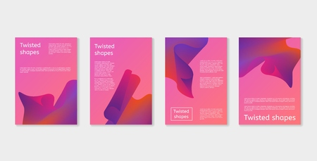 Set of modern covers with twisting shape elements. Trendy minimal design. Gradient ribbons. Ultra violet purple colors.
