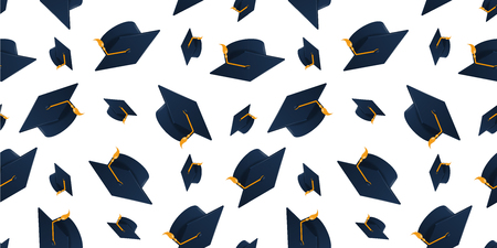Graduation cap on white background. Seamless pattern. Vectores