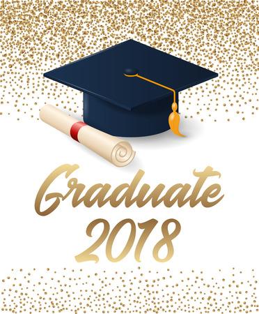 Clase de cartel de graduación 2018 con sombrero y diploma de desplazamiento. Se puede utilizar para invitación, pancarta, tarjeta de felicitación, postal. Vector plantilla de posgrado. Ilustración de vector