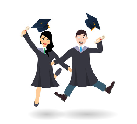 A young graduate man and woman jumping with certificate or diploma scroll. Cartoon charcters illustration