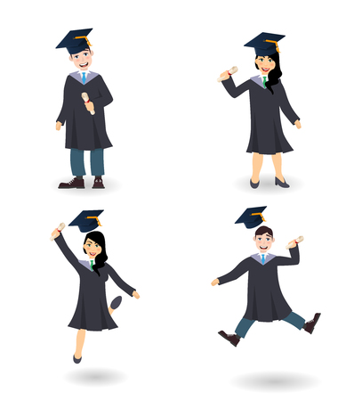 Young graduate set of man and woman with certificate or diploma scroll. Set of cartoon characters illustration Illustration