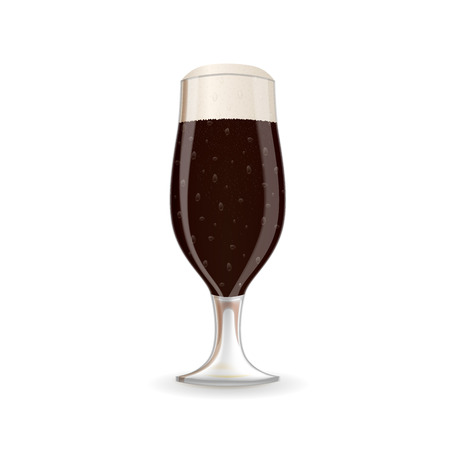 A glass of dark beer with foam. Illustration
