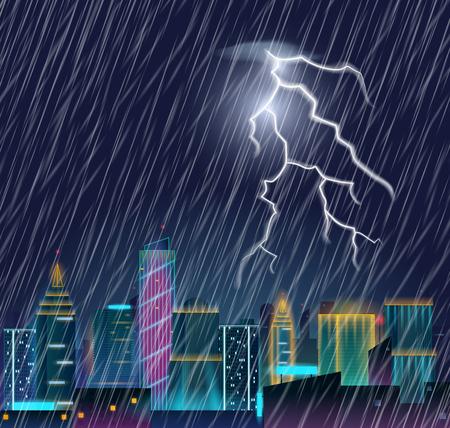 Paysage urbain nuit avec flash smog et forte chute de pluie . orage dans la ville paysage avec le tonnerre et le smog . illustration vectorielle réaliste Banque d'images - 98177258