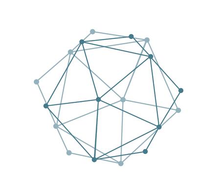 抽象的な形状の幾何学図形。現代のデジタル技術スタイル。ベクターの図。白い背景上でオブジェクトが分離されています。バーチャルリアリティの世界とシミュレーション。