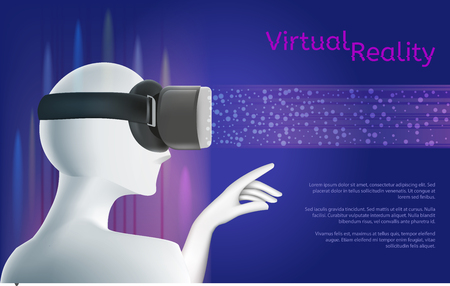 Man wearing vr headset and pointing with his hand at digital projection. Virtual reality concept with textarea. Vector illustration. Virtual reality world and simulation.
