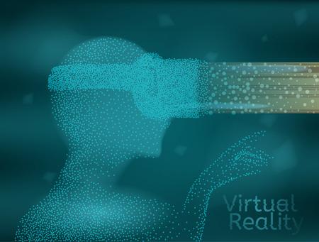 Abstract virtual reality vector illustration. Virtual reality world and simulation projection.