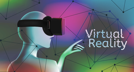 Man wearing a virtual reality headset and pointing with his hand at text. Concept with geometric figures in abstract shapes vector illustration. Virtual reality world and simulation. Çizim