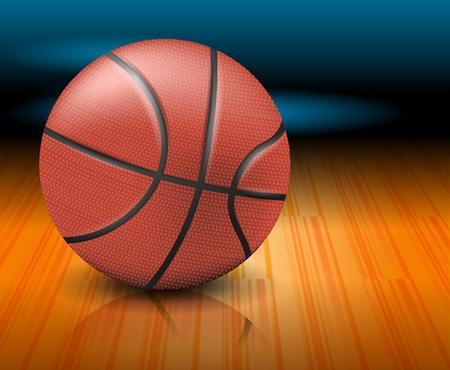 Un ballon de basket sur un terrain. Illustration vectorielle réaliste Vecteurs
