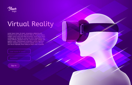 Man in virtual reality headset. Vector design concept. Virtual world and simulation in ultraviolet colors.