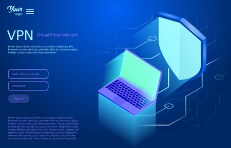 Isometric vector illustration showing the VPN internet security Virtual privat network. Ultraviolet colors.