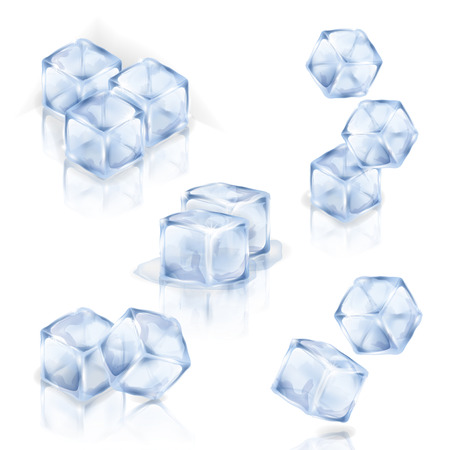 Set of ice cubes isolated on the white background. Collection of vector square ice pieces. Making of cold drinks, alcoholic and non-alcoholic beverages, cocktails. Illusztráció
