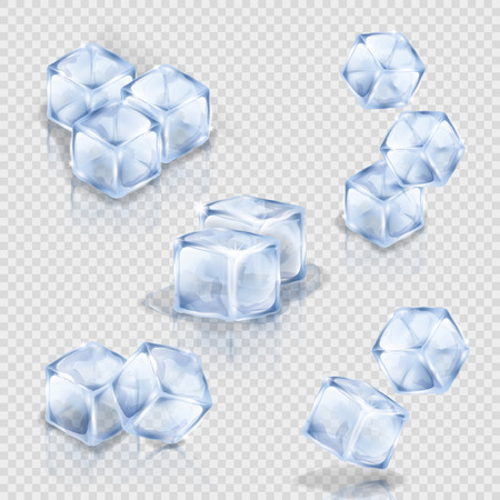 Ice cubes on the transparent background. Collection of vector illustrations showing square pieces of ice. Making of cold drinks, alcoholic and non-alcoholic beverages, cocktails.