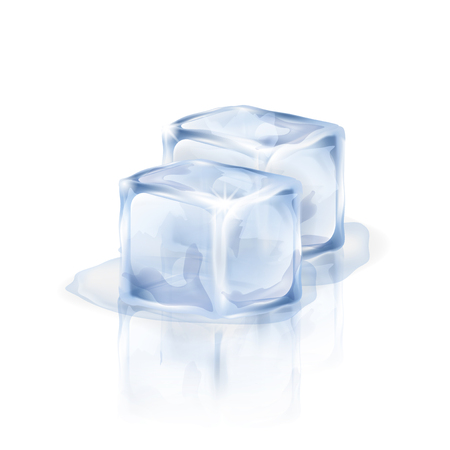 Two bluish-white ice cubes isolated on the white background. Vector illustration of two ice pieces. Making of cold drinks, alcoholic and non-alcoholic beverages, cocktails. Illusztráció