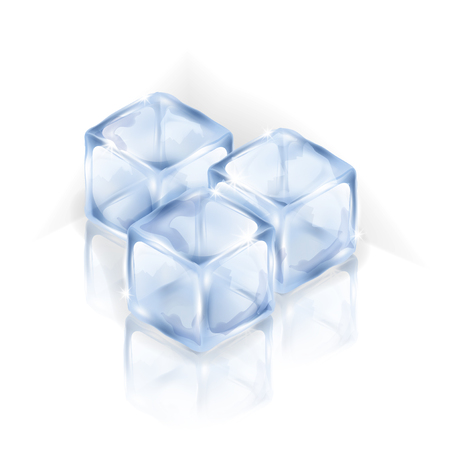 Three ice cubes isolated on the white background. Isometric vector illustration of square ice pieces. Making of cold drinks, alcoholic and non-alcoholic beverages, cocktails.