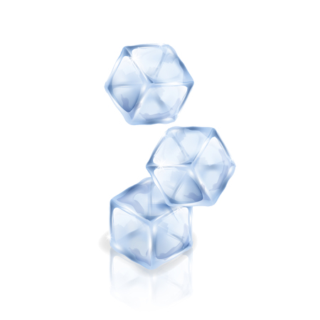 Three ice cubes isolated on the white background. Vector illustration of three pieces of ice. Making of cold drinks, alcoholic and non-alcoholic beverages, cocktails. Illusztráció