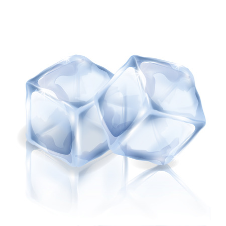 Two ice cubes isolated on the white background. Vector illustration of two square pieces of ice. Making of cold drinks, alcoholic and non-alcoholic beverages, cocktails. Illusztráció