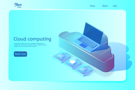 Cloud computing web page template. Isometric vector illustration. Abstract design concept. Web page banner. Image depicting laptop on cloud and central processing units. Illustration