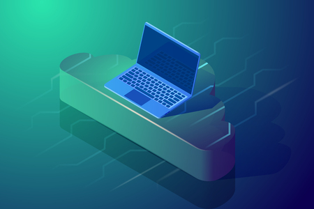 Cloud computing and storage. Isometric vector illustration. Abstract design concept. Image depicting laptop on the cloud.