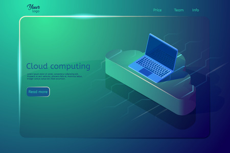 Cloud computing web page template and banner. Isometric vector illustration showing laptop on the cloud. Abstract design concept. Digital storage and hosting.