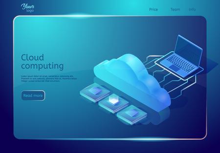 Cloud-Computing-Webseitenvorlage. Isometrische Vektorillustration in blauen Farben. Bild mit Laptop-, Cloud- und Zentraleinheiten. Digitaler Speicher und Hosting. Webseitenbanner. Vektorgrafik