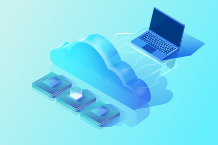 Cloud computing. Isometric vector illustration in blue colors. Image showing laptop, cloud and central processing units. Abstract design concept of cloud storage and hosting.