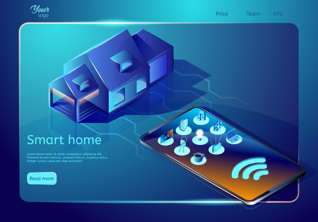 Smart home technology web page template. Isometric vector illustration. house connected to the cell phone. Smart home automated system for controlling lighting, temperature, multimedia, security