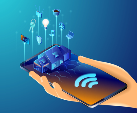 Isometric vector illustration of the smart home system. Automated structure that controls lighting, climate, entertainment systems, and appliances. Human hand holding cell phone with house on it. 免版税图像